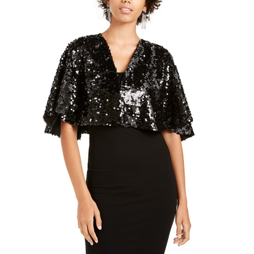 Teeze Me Juniors' Sequined Capelet Black Size Large