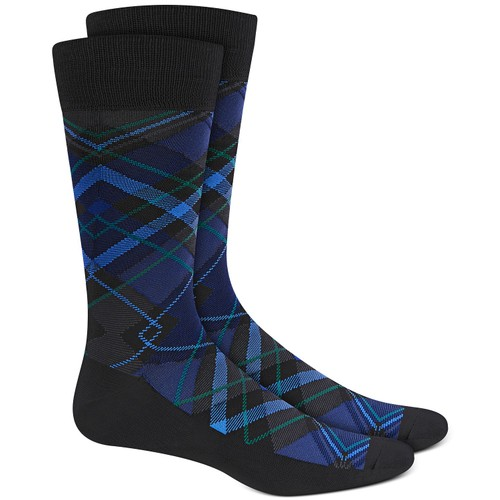 Perry Ellis Men's Microfiber Plaid Socks Navy Size Regular