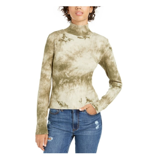 Planet Gold Juniors' Tie-Dye Mock Neck Top Green Size Large