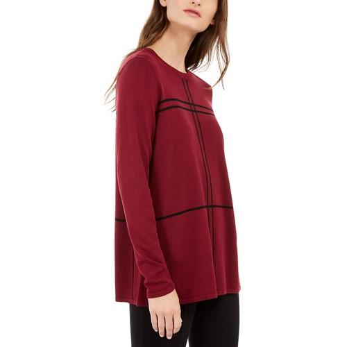 Alfani Women's Grid-Pattern Sweater Red Size Small