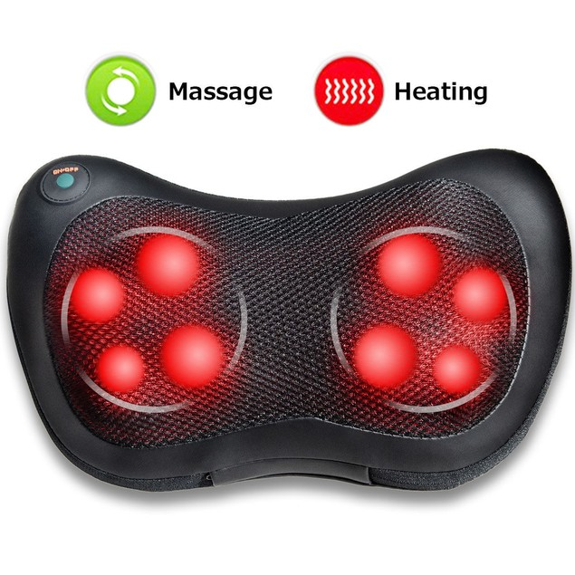Costway Shiatsu Shoulder Neck Back Massage Pillow W/Heat Deep Kneading Mass