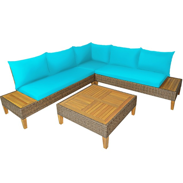 Costway 4PCS Patio Rattan Furniture Set Loveseat w/Wooden Side Table Cushio