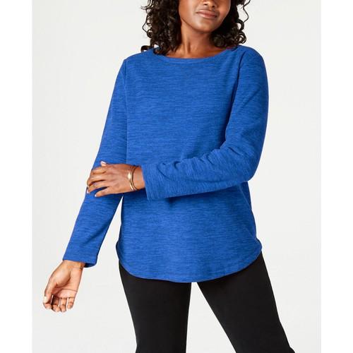 Karen Scott Women's Petite Marled Sweatshirt Blue Size 44
