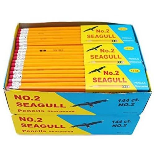 288 SEAGULL Pencils Pre-sharpened No. 2 144/box 2 Boxes - Improved Eraser