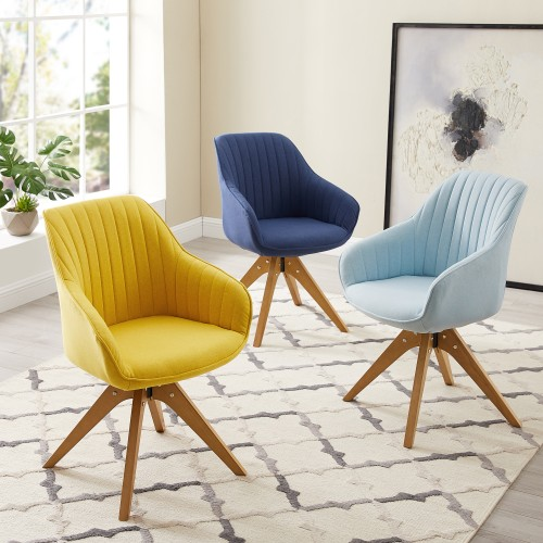 Art-Leon Classical Swivel Office Accent Arm Chair with Wood Legs