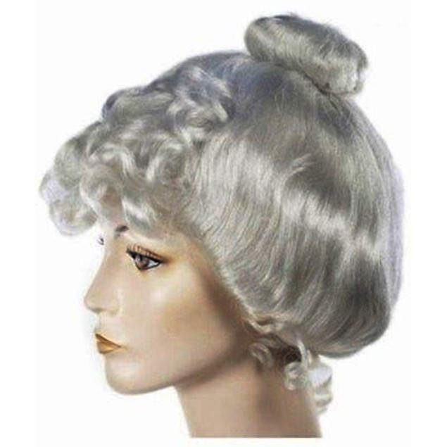 Grey Victorian Wig Gibson Girl Lady Curly Upsweep 1800's Costume Womens