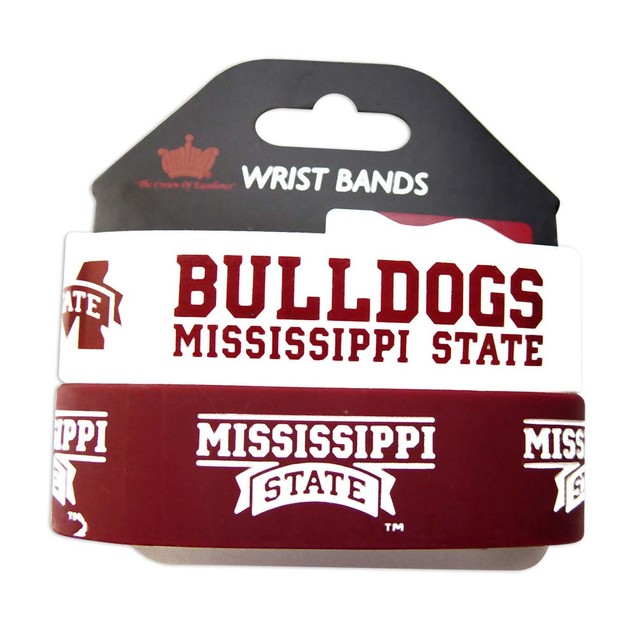 Mississippi State Bulldogs Rubber Wrist Band (Set of 2) NCAA
