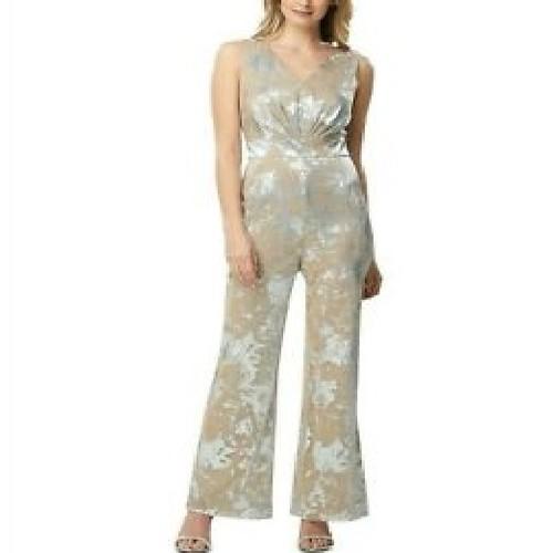 Tahari Asl Women's Foil Lace Jumpsuit Silver Size 12