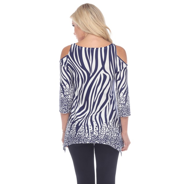 Printed Cold Shoulder Tunic - Missy Sizes