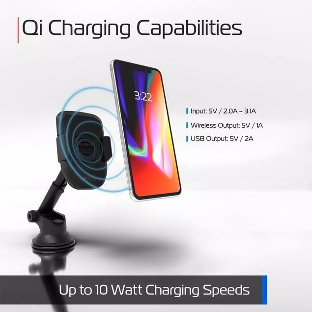 Tzumi InteliGrip Wireless Charging Mount w/ USB Port, Qi-Enabled, Black