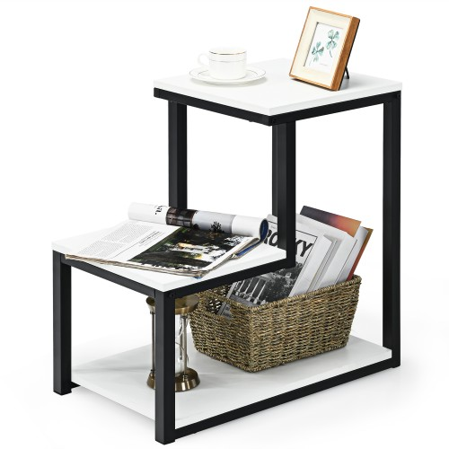 Costway 3-Tier End Table Sofa Side Table Night Stand W/ Shelf for Living Ro