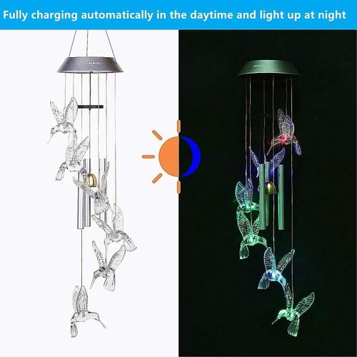 SOLAR COLOR CHANGING LED HUMMINGBIRD WIND CHIMES LIGHT TUBES BELLS LAMP