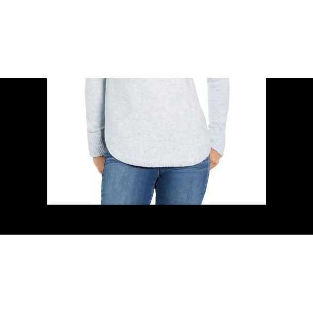 Style & Co Women's Cowl Neck Waffle Knit Sweater Grey Size XX-Large