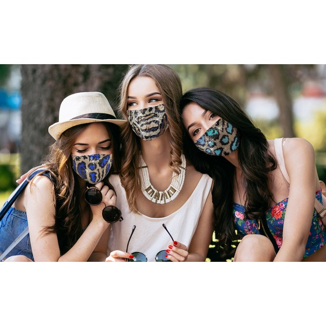 6-Pack: Sequined Cotton Fashionable Face Masks With Adjustable Ear Loops