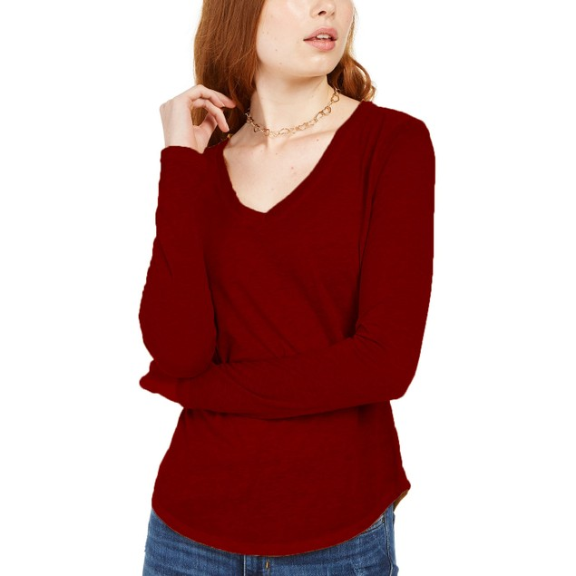 Ultra Flirt Juniors' Long-Sleeved Textured Boyfriend T-Shirt Red Size Small