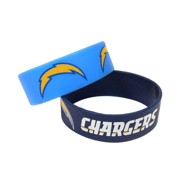 LA Los Angeles Chargers Rubber Wrist Band (Set of 2) NFL