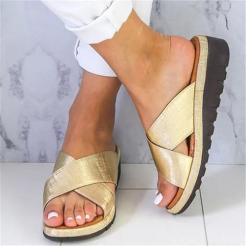 Cross Women's Plus Size Sandals And Slippers Platform Wedge Heel