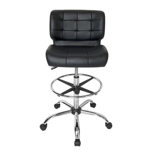 Studio Designs Black Crest Drafting Chair - Chrome/Black