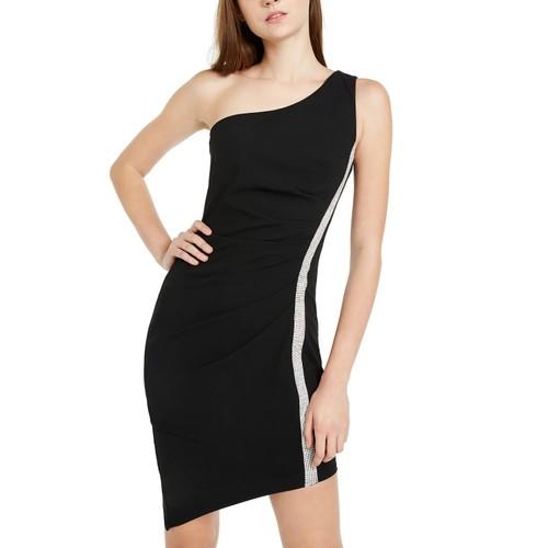 BCX Juniors' Rhinestone-Trim One-Shoulder Dress Black Size Large