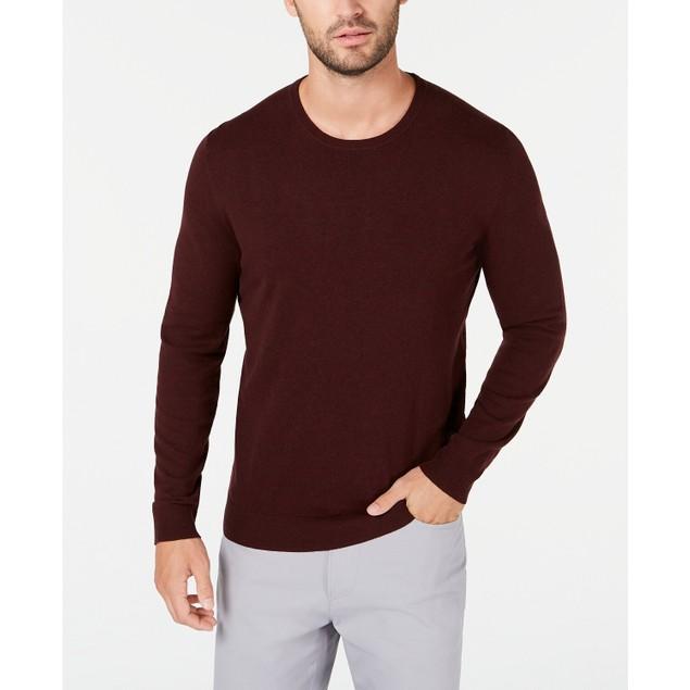 Alfani Men's Solid Crewneck Sweater Wine Size 3 Extra Large
