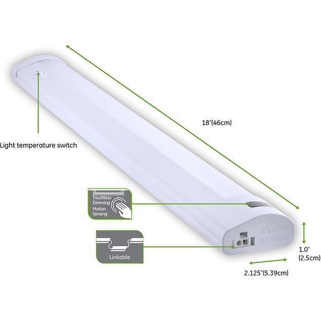 "GE 18"" Temperature Adjustable LED Plug-In Motion-Sensing Bar Light, White"