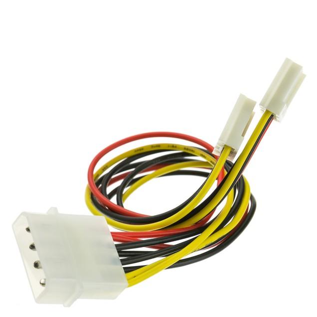 4 Pin Molex Floppy Power Y Cable, 5.25 inch 3.5 inch Female, 8 inch