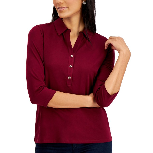 Charter Club Women's Knit Polo Shirt Red Size Small