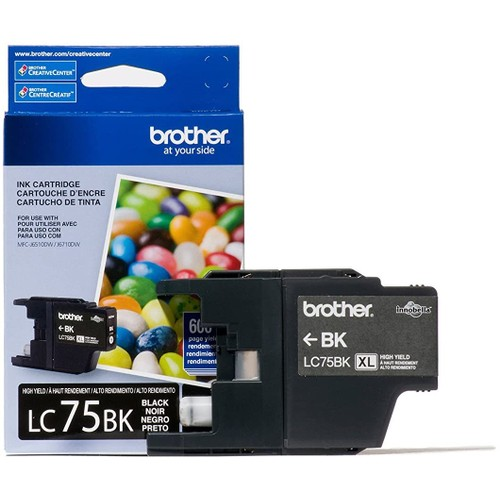 Brothers Brother Printer LC752PKS 2 Pack of LC-75BK Cartridges Ink - Retail Packaging