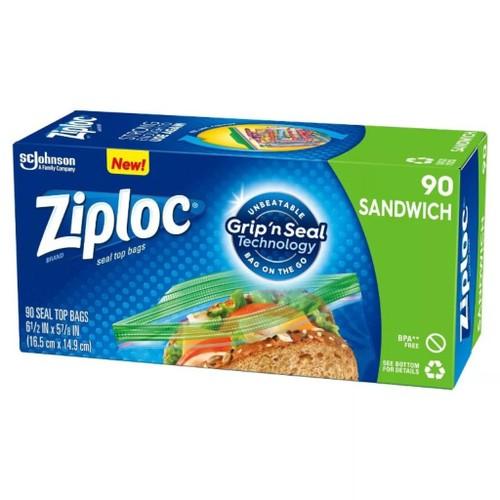 SC Johnson Ziploc Sandwich Bags w/ Unbeatable Grip & Seal Technology, 90