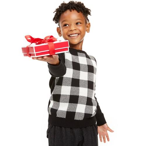 Charter Club Little Boy's Buffalo Check Family Sweater White Size 7