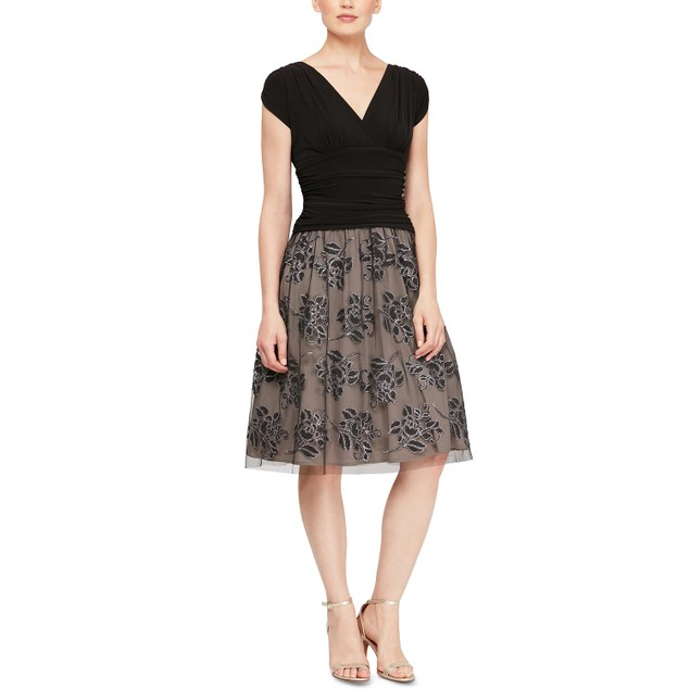 SL Fashions Women's Embellished Floral Print A Line Dress Charcoal Size 6