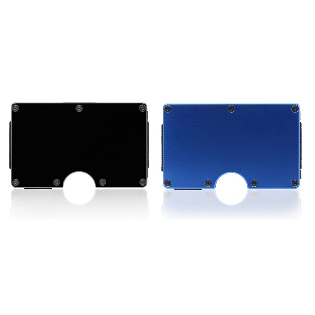 Ultra-Slim Wallet RFID Card Protection Money Holder Black Aluminum, Blue,