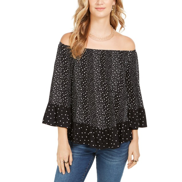 Style & Co Women's Printed Off-The-Shoulder Top Black Size Extra Small