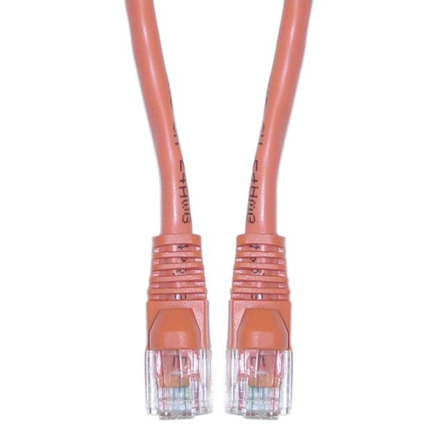 Cat5e Orange Ethernet Crossover Cable, Snagless/Molded Boot, 10 foot