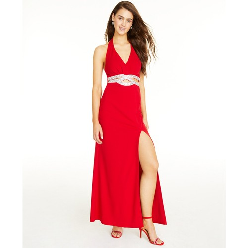 Speechless Juniors' Embellished Halter Gown Red Size 7