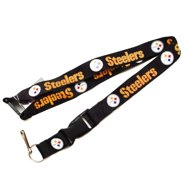Steelers Clip Lanyard Keychain Id Ticket - Black