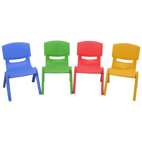 Costway Set of 4 Kids Plastic Chairs Stackable Play and Learn Furniture Col