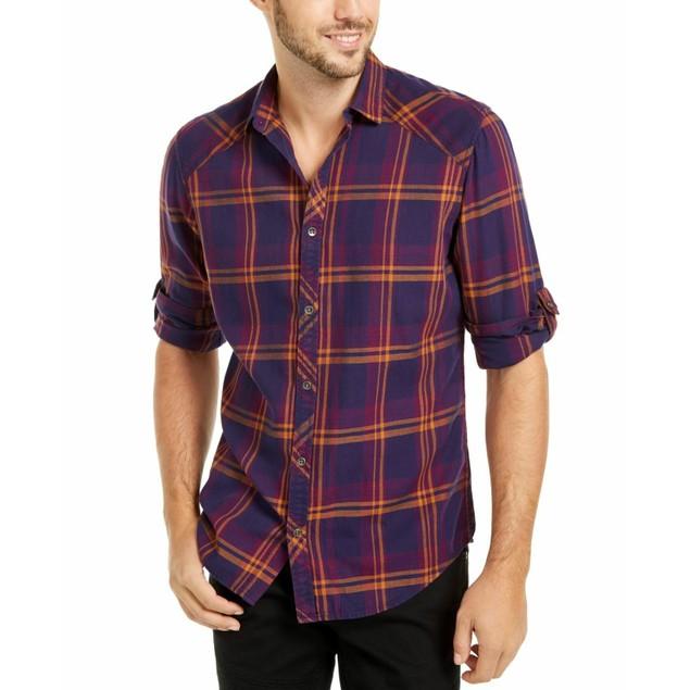 INC International Concepts Men's Marc Plaid Shirt Purple Size XX Large