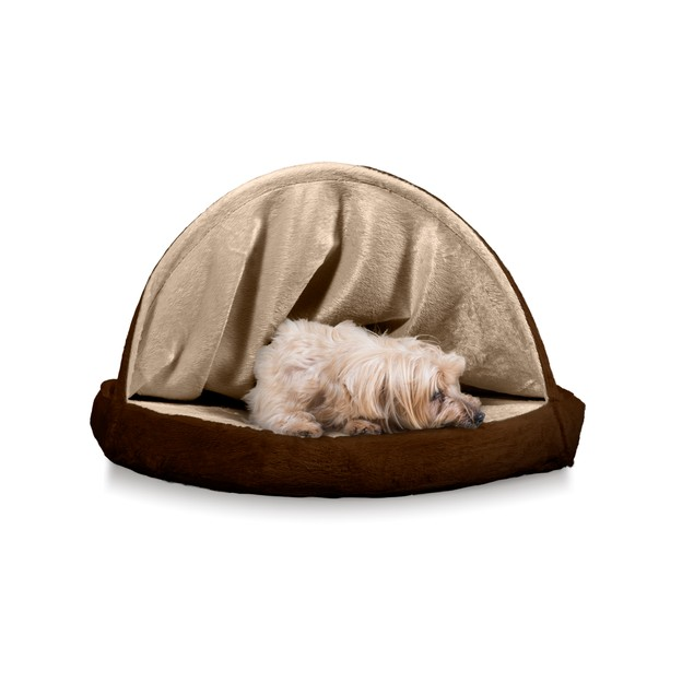 FurHaven Memory Foam Round Microvelvet Snuggery Burrow Pet Bed