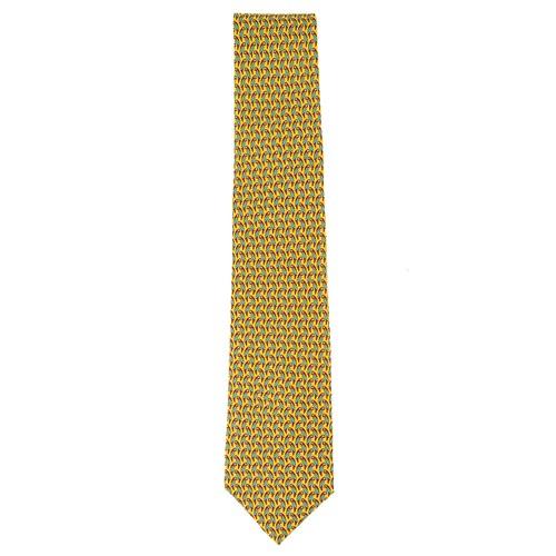 Tommy Hilfiger Men's Small Parrot Silk Tie Yellow Size Regular