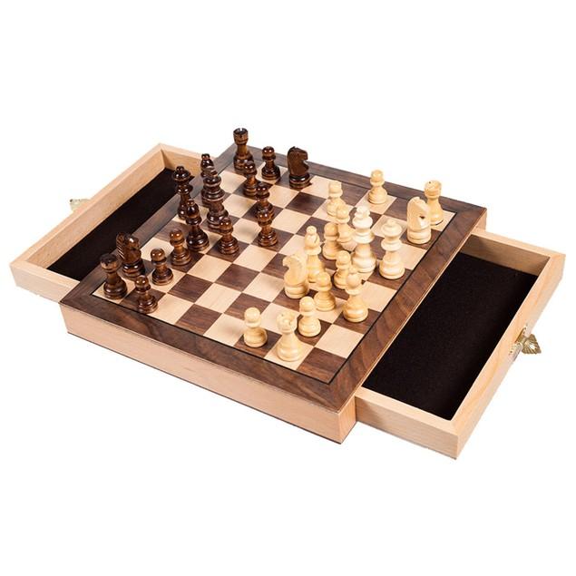 Elegant Inlaid Wood Chess Cabinet with Staunton Wood Chessmen