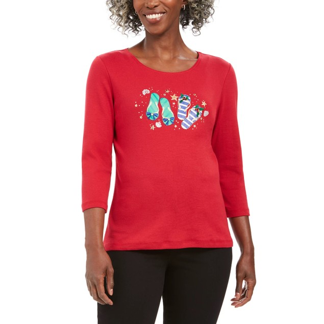 Karen Scott Women's Petite Winter Flip-Flops Cotton Top Bright Red Size 44