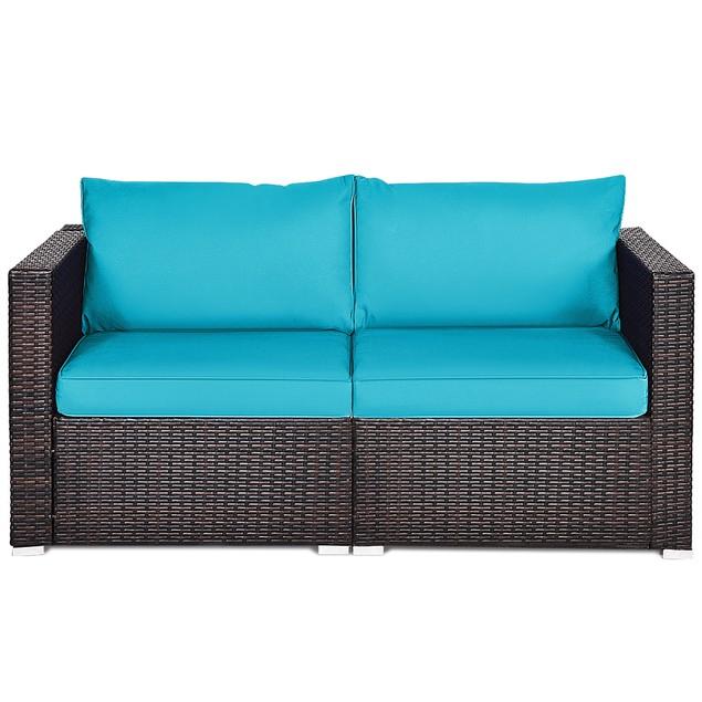 Costway 2PCS Patio Rattan Corner Sofa Sectional Furniture