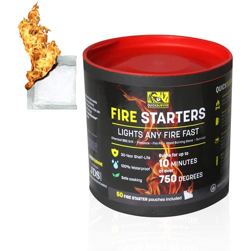 QUICKSURVIVE All-Purpose Waterproof Fire Starters  - 50 Piece Canister