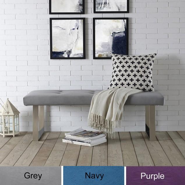 Velvet Chrome Bench-Stainless Steel Legs|Tufted|Inspired Home