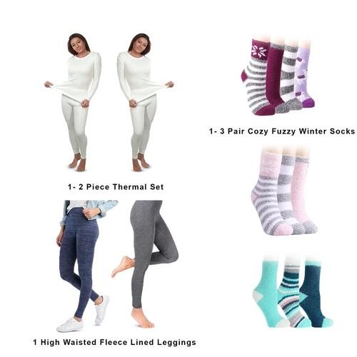 5-Piece Winter Set: 2-Piece Thermal Set, Fleece Line Leggings, Fuzzy Socks
