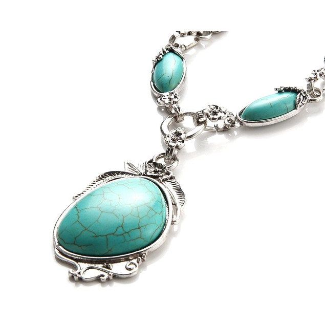 Novadab Antique Silver Tibet Turquoise Long Chain Silver plated Necklace