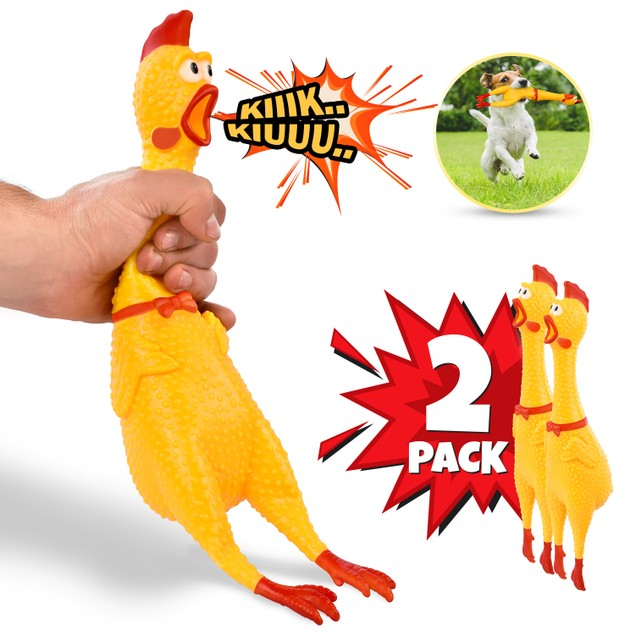 """Hilarious 15"""" Rubber Screaming Chicken Novelty Toy for Kids & Pets"""