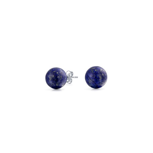 Solid Sterling Silver Blue Lapis Ball Studs