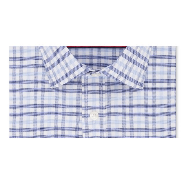 Tommy Hilfiger Men's Fitted Stretch Blue Check Shirt Navy Size 32X33